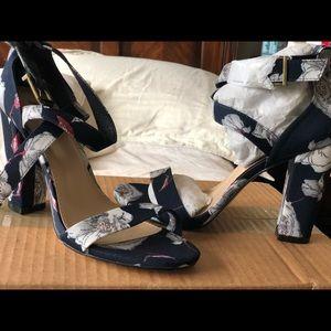 Floral print sandal heels